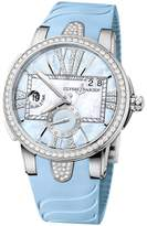 Ulysse Nardin Executive Dual Time Lady Blue Mother Of Pearl Dial Rubber Strap Automatic Ladies Watch