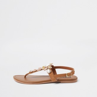 River Island Womens Brown gem toe post sandals