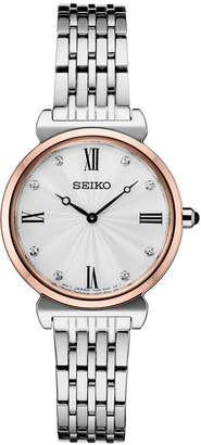 Seiko Women Crystals Two-Tone Stainless Steel Bracelet Watch 29.6mm