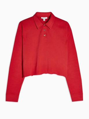 Topshop Long Sleeve Rugby Polo Top - Red