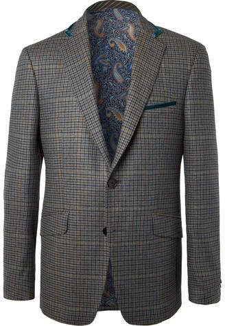 Etro Green Velvet-Trimmed Checked Wool And Cashmere-Blend Blazer