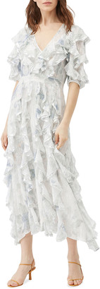 Rebecca Taylor Lily Ruffle Metallic Midi Dress