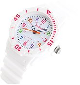Jewtme Cute Kid Children Watch Colorful dial Watch For Boys Girls Students-White