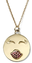 Alison Lou 14K Gold Large MWA! Face With Rubies Necklace