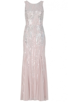 Quiz Pink Sequin High Neck Fishtail Maxi Dress