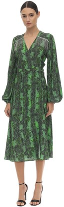 Rotate by Birger Christensen Embellished Printed Stretch Midi Dress
