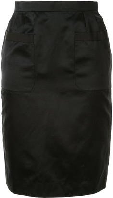 Chanel Pre Owned Silk 1995 Front Pockets Pencil Skirt