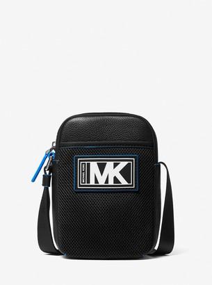 Michael Kors Cooper Pebbled Leather and Mesh Smartphone Crossbody Bag