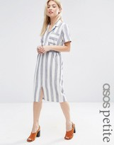 Asos Short Sleeve Shirt Dress in Linen Stripe