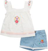 Nannette White & Pink Floral Flutter-Sleeve Top & Shorts - Toddler & Girls