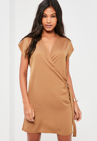 Missguided Nude D Ring Wrap Front Mini Dress