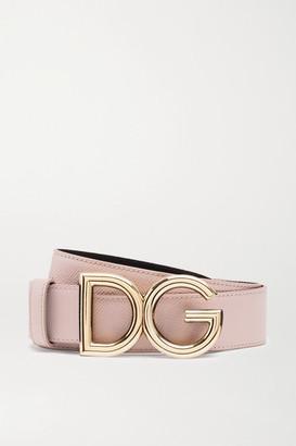 Dolce & Gabbana Reversible Textured-leather Belt - Blush