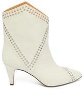 Isabel Marant Demka Eyelet-embellished Leather Ankle Boots - Womens - White
