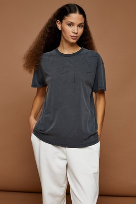 Topshop Undertone Charcoal Gray Distressed T-Shirt