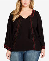 Jessica Simpson Plus Size Rogan Embellished Peasant Top