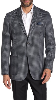 Vince Camuto Dark Grey Houndstooth Two Button Notch Lapel Slim Fit Blazer