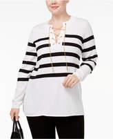 MICHAEL Michael Kors Size Chain-Trim Striped Sweater