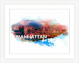 Vintage Print Gallery Manhattan Skyline Framed Graphic Art
