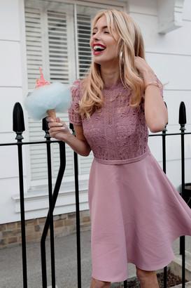 Little Mistress Alanis Blush Lace Top Mini Skater Dress
