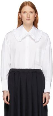 Comme des Garcons White Square Collar Ruffle Shirt