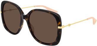 Gucci Acetate & Metal Rectangle Sunglasses