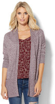 New York & Co. Ribbed-Knit Open-Front Cardigan - Marled - Petite
