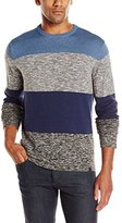 DKNY Men's Long Sleeve Bold Stripe Solid Marl Crew Neck Sweater