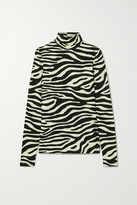 Proenza Schouler White Label Zebra-print Stretch-cotton Jersey Turtleneck Top