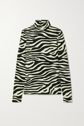Proenza Schouler White Label Zebra-print Stretch-cotton Jersey Turtleneck Top