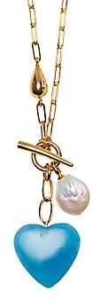 Lizzie Fortunato Women's Heart Strings 13-16MM Freshwater Pearl & Blue Aventurine Heart Charm Lariat Necklace