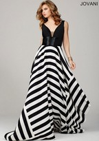 Jovani Sleeveless Evening Gown in Asymmetrical Stripe Skirt 33959