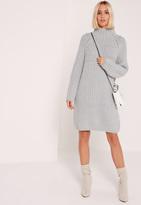 Missguided Oversized Mini Sweater Dress Grey