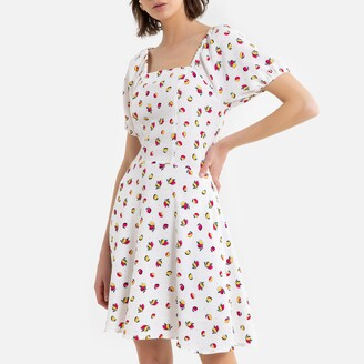 La Redoute Collections Mini Tea Dress in Fruit Print with Square Neck and Short Puff Sleeves