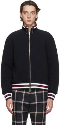 Thom Browne Navy Wool Pique Funnel Zip-Up Jacket