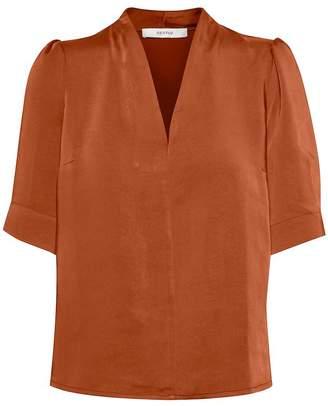 Gestuz KamrynGZ Umber Satin Look Mid Sleeve Blouse - Size 34 | polyester | amber - Amber