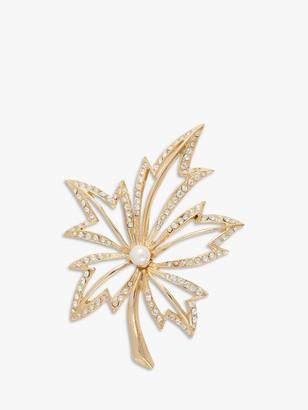 Susan Caplan Vintage Napier Gold Plated Faux Pearl and Swarovski Crystal Leaf Brooch, Gold