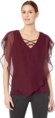 Amy Byer Women's Criss-Cross Popver Top Shirt