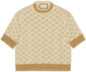 Gucci Interlocking G lame wool top