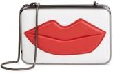 Alice + Olivia Cream Lips-appliquéd Leather Box Clutch