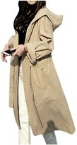 ARJOSA Women's Wear to Work Pockets Hooded Casual Trench Coat Outercoat With Belt