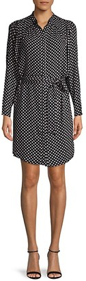 Joie Printed Self-Tie Shirtdress