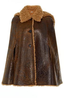 Miu Miu Cape-Effect Shearling Coat