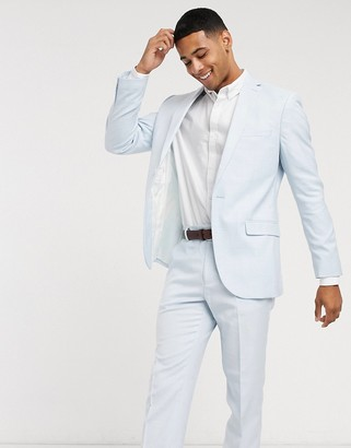 Topman slim fit suit jacket in light blue