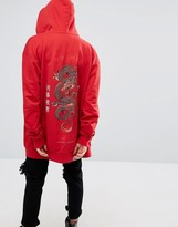 Criminal Damage Oversized Zip Up Hoodie With Dragon Back Print