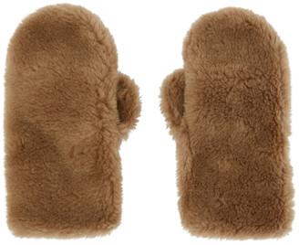 Yves Salomon Brown Convertible Wool Mittens