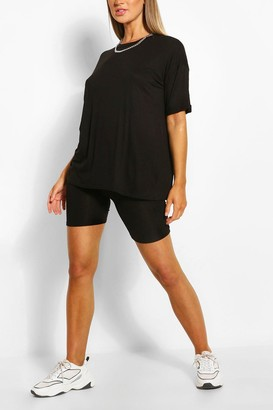 boohoo Jersey T-shirt & Cycling Short Set