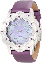 Brillier Women's 10-4C727-07 La Fleur Round Diamonds Purple Amethysts Steel Watch