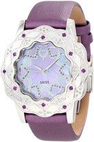 Brillier Women's 10-4C727-07 La Fleur Round Diamonds Purple Amethysts Steel Watch