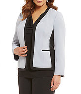 Kasper Plus Stretch Crepe Square Framed Jacket