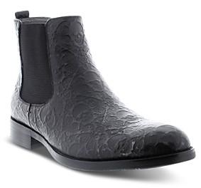 Robert Graham Men's Driscoll Skull Embossed Pull On Chelsea Boots